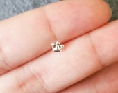 Silver Bone Nose Ring Stud Piercing Crown