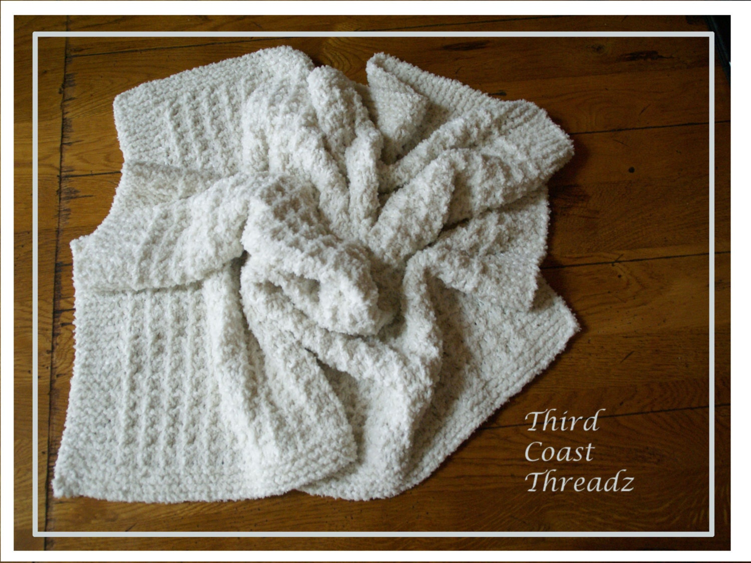 Waffle Knitting Pattern Blanket : Hand Knitted Waffle Weave Baby Blanket by ThirdCoastThreadz