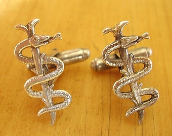 Sterling Silver Rod Staff Of Asclepius Cufflinks In Presentation Box