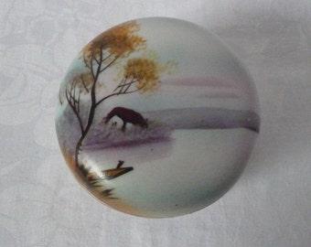 """Vintage Noritake China Landscape Trinket Pot 1920s/30s 3 1/4"""" x 2"""""""