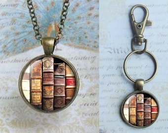 Ancient Tattered Book Collection - One Inch Round Glass Pendant -Choice of Necklace or Keychain - Antique Bronze