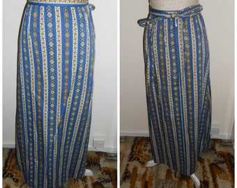 Vintage Retro 1970s Hippie Boho Festival Blue White Yellow Stripe Floral Cotton Maxi Skirt By St Michael UK Size 8 10 (12) 24 Inch Waist