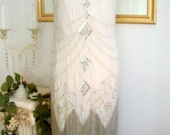 1920s Ivory Silver Iridescent Triple Fringe Beaded Flapper Dress, S,m,l, xl or Plus