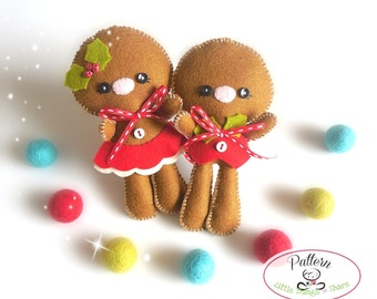 Christmas Ornaments patterns-Set of two Gingerbread Kids Pattern-PDF-Gingerbread man ornament-Felt ornaments pattern-DIY