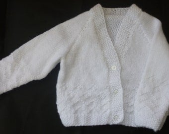 Handknitted Cute Baby V Neck Cardigan -  White - 3-6 months
