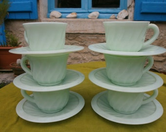 A set of 6 French cups and saucers, Vintage Art Deco, green opaque milk glass, tea, coffee, set, France, antique.