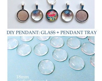 QTY 10 - DIY Pendant Kit - 18mm glass and Silver toned Pendant tray