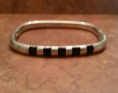Mexican  Silver Bracelet Black Inlay Mexico