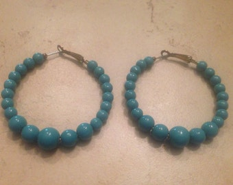 Blue Earrings Hoop Beads Costume Jewelry