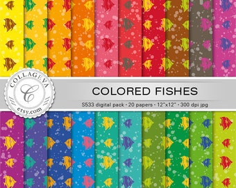 """Colored Fishes Digital Paper Pack, 20 printable sheets, 12""""x12"""", bright vivid rainbow colors, with bubble patterns, Fun Party paper (S533)"""