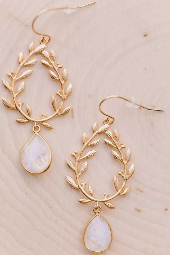 Moonstone Laurel Wreath Earrings