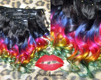 Balayage Dip Dye 8A Remy Dip Dye Ombre Balayage  Clip In Human Hair Extensions Dark#2 Brown & Multi Purple,Blue,Yellow Green Blue