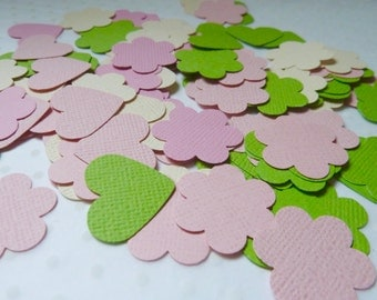 Cardstock paper hearts flowers 1 inch die cuts spring colours paper punchies
