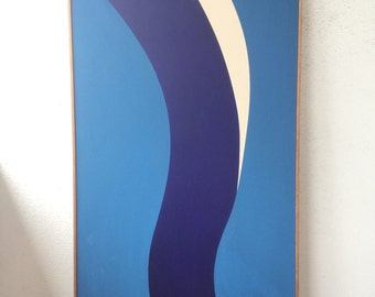 VIntage 1970 Large Beautiful Hard Edge Painting Signed 1960s Pop MCM Mid Century