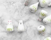 2pcs ∙ Green Porcelain Easter Bunny Bead Ceramic Animal Beads Rabbit Zodiac Jewelry Supplies
