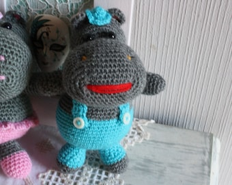 "Amigurumi Doll ""Mr. Hippo"" is hand made in France"