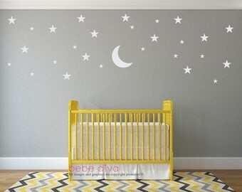 Moon and Stars Wall Decals, Wall Decals Nursery, Baby Wall Decal, Kids Wall Decals, Nursery Wall Decal, REMOVABLE and REUSABLE