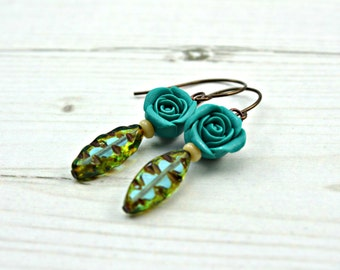 Turquoise Rose Earrings, polymer rose earrings