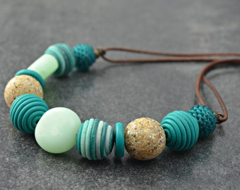 Cornish Coast Necklace, handcrafted polymer clay necklace
