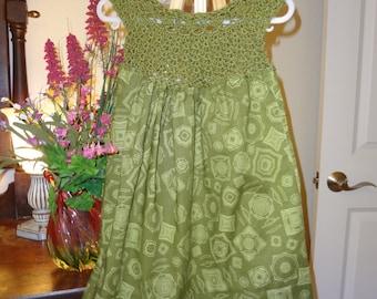 Green handmade crochet dress with cotton skirt. 18 to 24 mo.