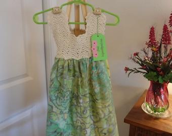 Crochet dress with cotton skirt. 18 mo