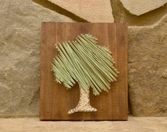 Tree String Art, Wood Wall Art, Nature Art, Rustic Wood Decor, Home Decor
