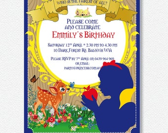Snow White/Red Rose Woodland Party Invitation |  Personalised Digital file