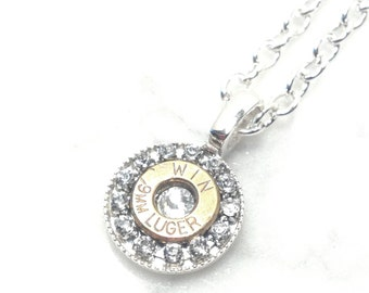 Steampunk Bullet & Rhinestone Necklace w/ Choice of Crystal, Personalized Jewelry, Steampunk Necklace, Bullet Jewelry, Bullet Necklace