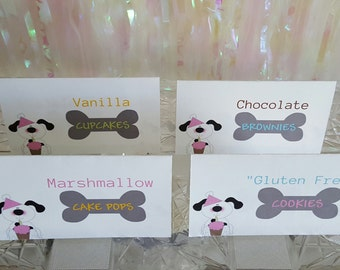 12 PINK Paw-ty PUPPY BIRTHDAY Party Food Tent Cards / Name Cards *Buffet Cards  *Set of 12 *Customized*