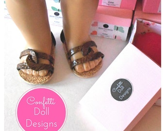 "Leather Chic Sandals for 18"" Dolls"