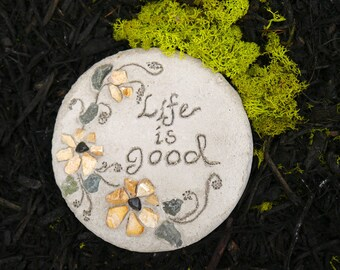"Engraved Stepping Stone, Garden Decor, ""Life Is Good"" Stepping Stone, All-Natural Mosaic Stepping Stone, Decorative Garden Art, Gift for Her"