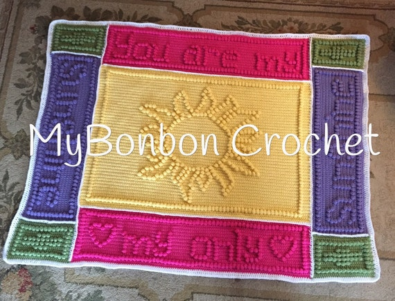 You are my sunshine crochet baby blanket heirloom afghan