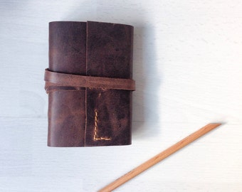 A7 Leather sketchbook, leather bound journal, travel journal, rustic brown leather wrap journal, personalized monogram optional