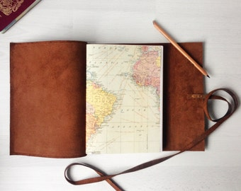 Map journal, personalized travel journal, travel gift, leather sketchbook, rustic brown leather journal, monogram optional, graduation gifts
