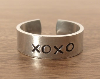 XOXO Ring, Hugs and Kisses Ring, Hand Stamped XOXO Cuff Ring (HSR0007)