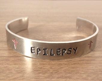 Epilepsy Medical Bracelet, Hand Stamped Epilepsy Medical Bracelet  (HSBR0023)