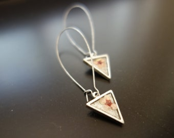 Small Flower Triangle Pendant Earrings