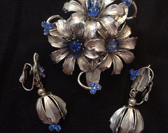 Silver & Blue Rhinestone Brooch /Earring Set