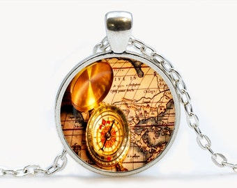 Vintage Map and Compass. Vintage Map Necklace. Vintage Map jewelry. Birthday gift