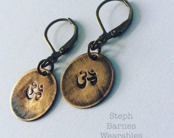 Om earrings in bronze or pewter