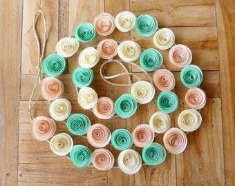 Paper Flower Garland - Mint, Peach & Cream