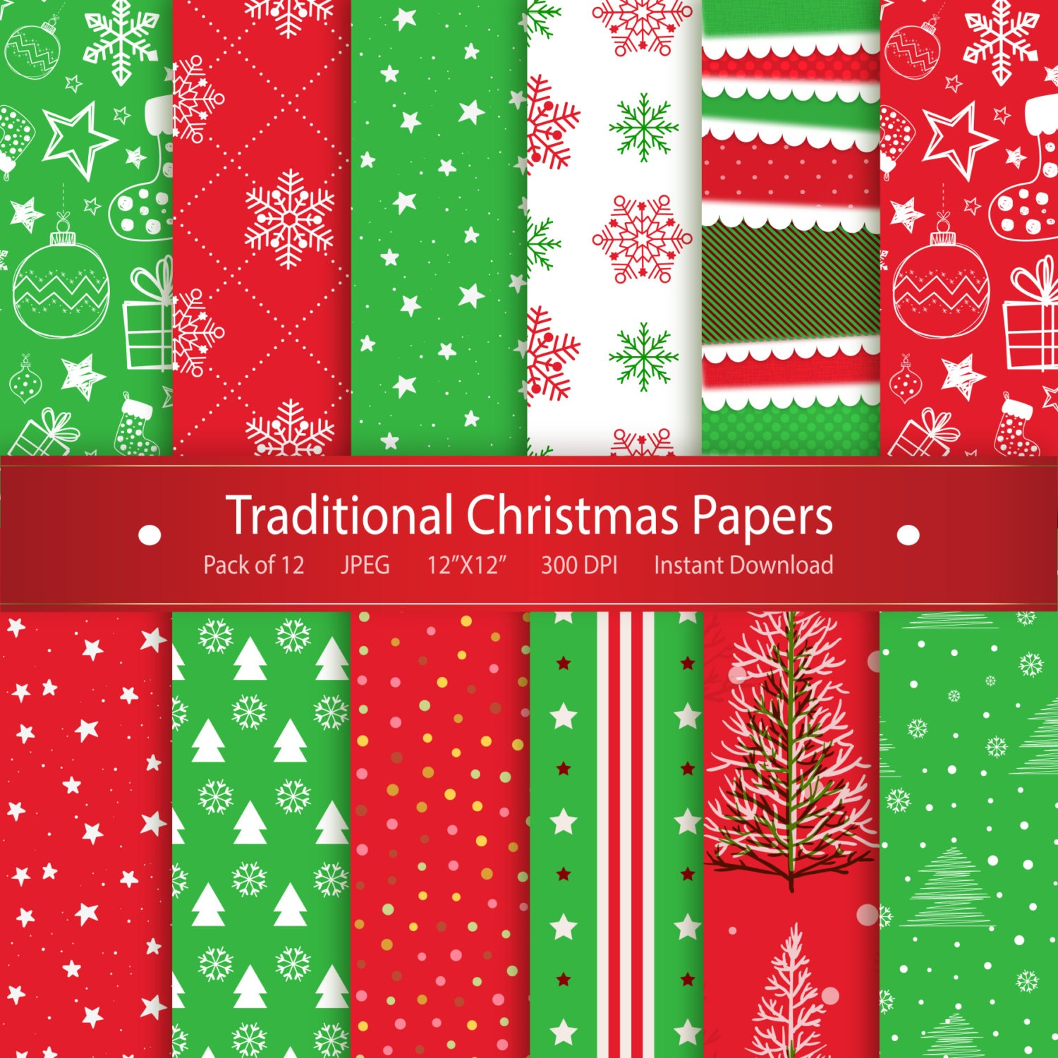 Scrapbook ideas video download - Christmas Digital Paper Traditional Christmas Papers Printable Design Instant Download Scrapbooking Collection Stockings Snowflakes Stars