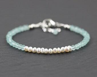 Aqua Chalcedony & Freshwater Pearl Bracelet in Sterling Silver or Gold Filled. Beaded Gemstone Jewelry. Dainty Stacking Bracelet. Jewellery