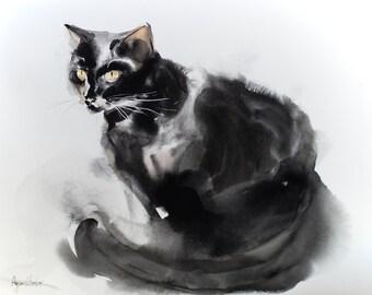 Sitting cat - original watercolor painting