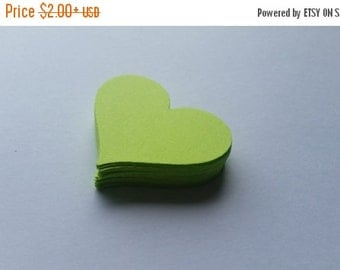 ON SALE Lime Green Heart Die Cuts Party Scrapbooking Confetti Embellishments Weddings Gift Tags Set of 25