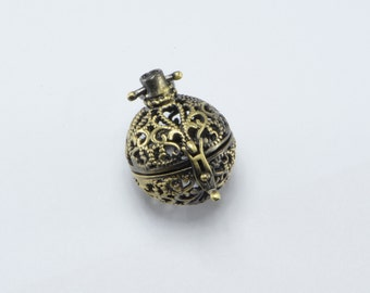 2pcs Round Ball Lockets in Antique Bronze, Keepsake, Message Locket, Locket Supplies #SD-S8114