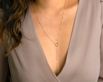 Y Necklace, Simple Y Circle Necklace, Circle Lariat Necklace, Y Shape Lariat Necklace, Gold Circle Drop Necklace, Long Gold Circle Necklace