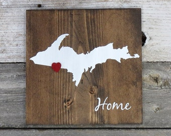 """All States Available, Rustic Hand Painted """"Home State"""" Wood Sign, Upper Michigan State Home, Home State Pride"""