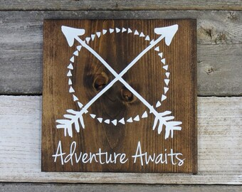 "Rustic Hand Painted Wood Sign ""Adventure Awaits"""