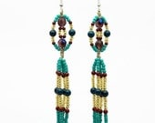 Hemp Earrings, Beaded Macrame Earrings, Long Boho Earrings, Dangle Earrings, Women Earrings, Blue, Gold, Fringe, Tassel Earrings, Handmade
